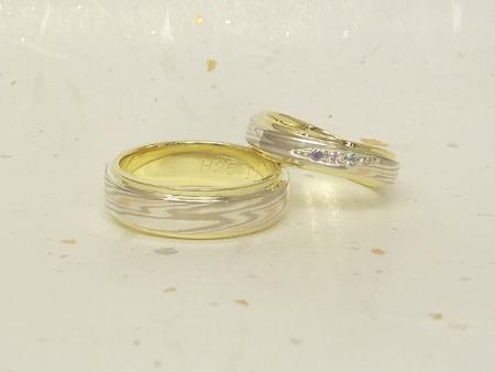 13052601プラチナの婚約指輪と木目金の結婚指輪_U002②.JPG