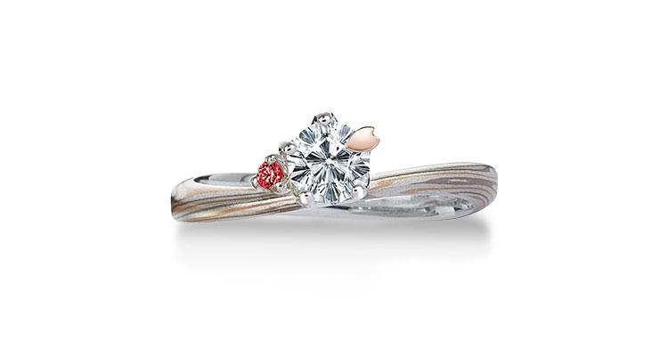 Engagement ring(Koi-kaze): Garnet on the surface