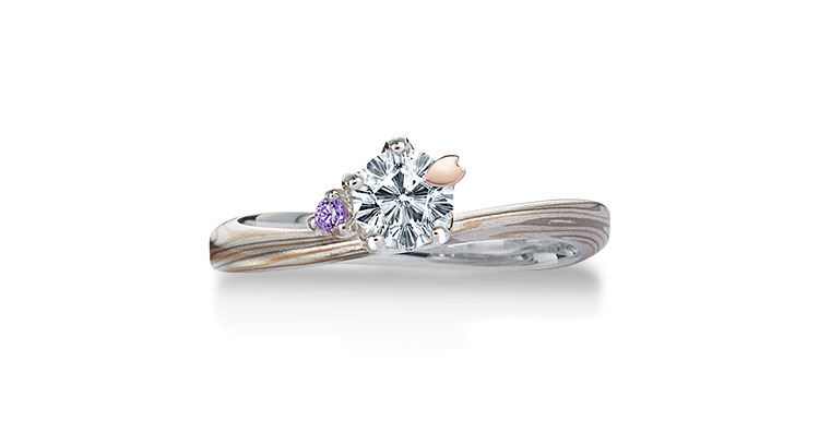 Engagement ring(Koi-kaze): Amethyst on the surface