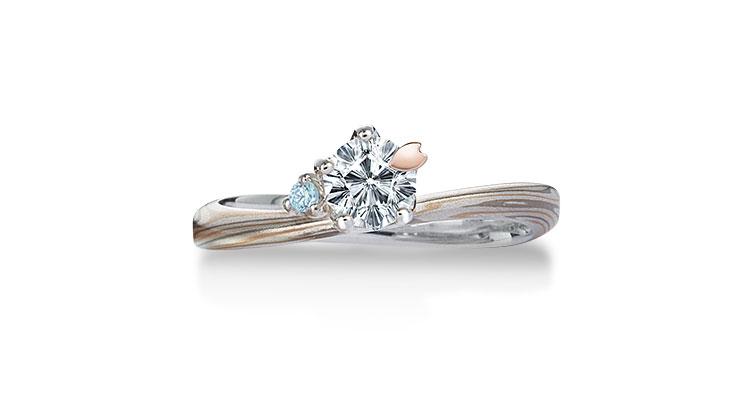Engagement ring(Koi-kaze): Aquamarine on the surface