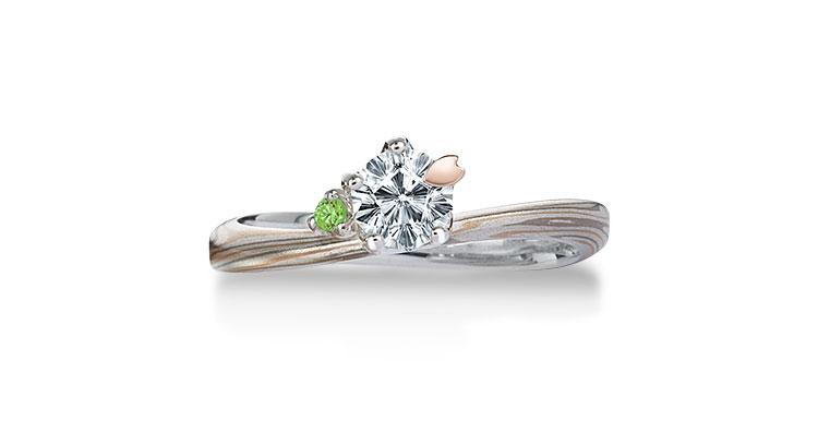 Engagement ring(Koi-kaze): Emerald on the surface