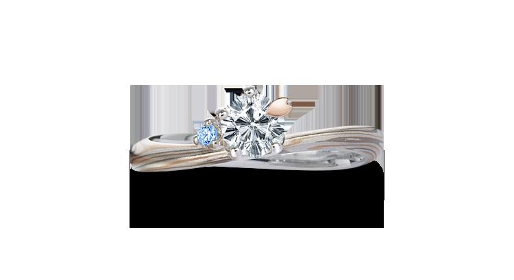 Engagement ring(Koi-kaze): blue diamond on the surface