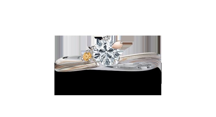 Engagement ring(Koi-kaze): brown diamond on the surface