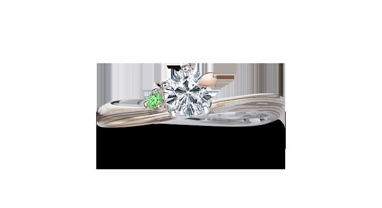 Engagement ring(Koi-kaze): green diamond on the surface