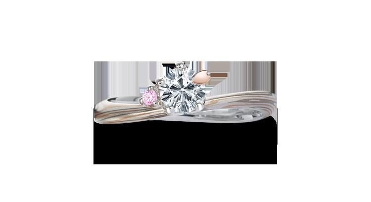 Engagement ring(Koi-kaze): pink diamond on the surface