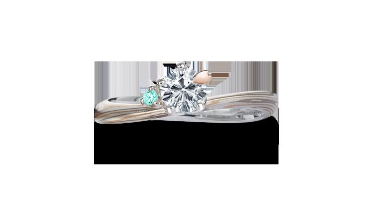 Engagement ring(Koi-kaze): sea-green diamond on the surface