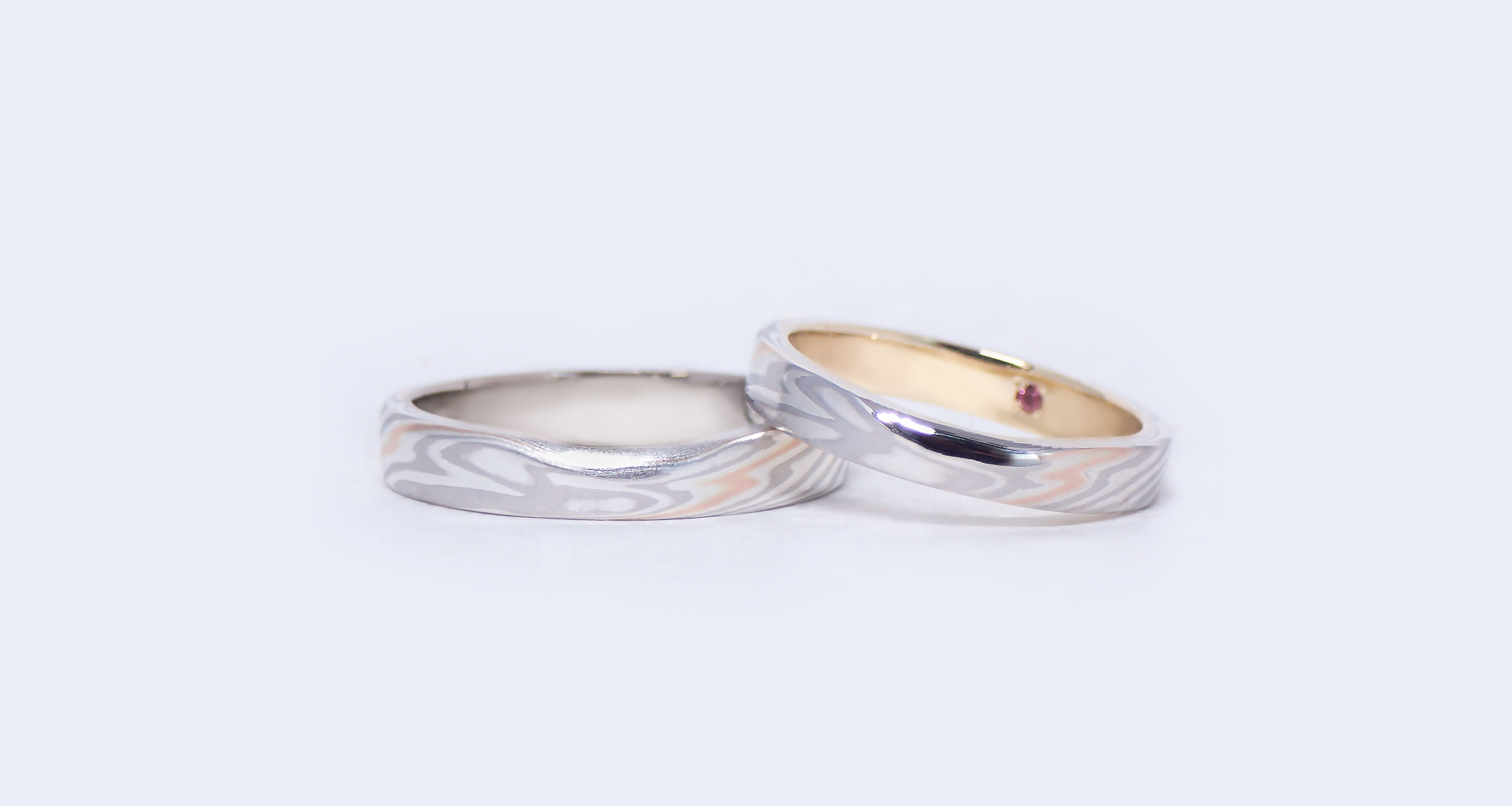 Platinum (Pt)× pink gold one line (PG1) × silver (SV) Wedding bands (Flat straight)