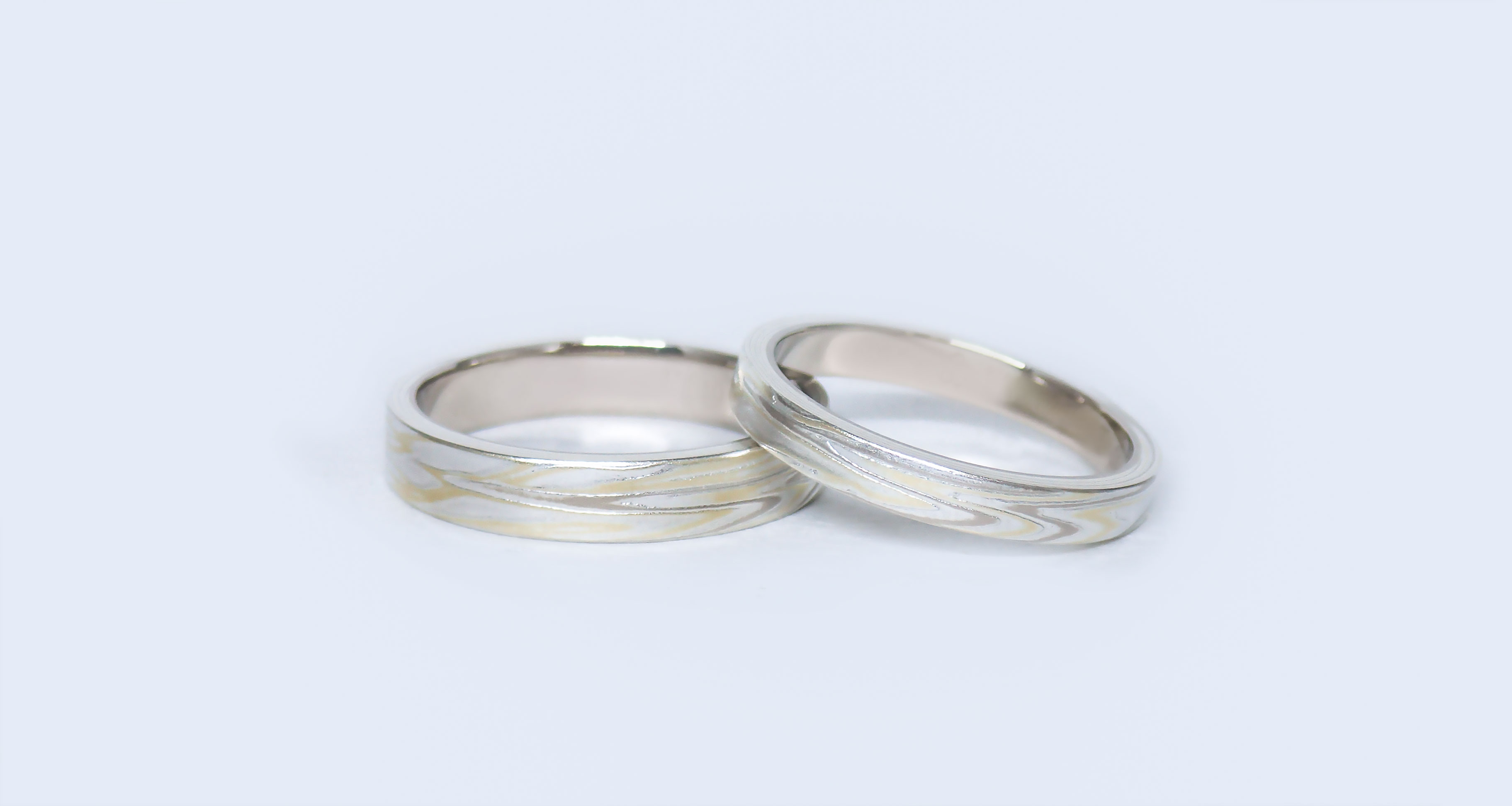 White gold (WG) × green gold (GG) × silver (SV)Wedding bands (Flat straight)