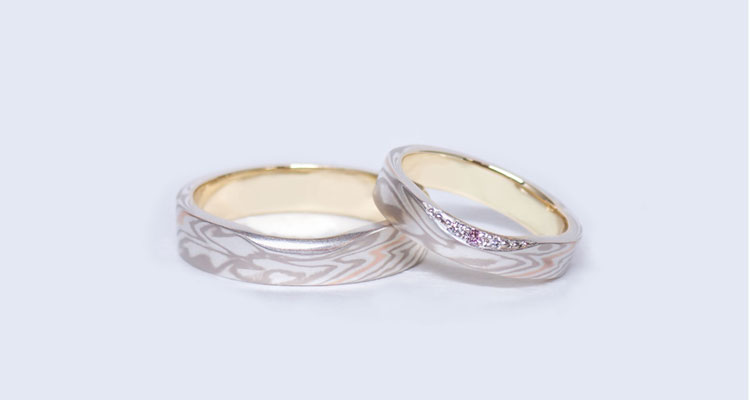 White gold (WG) × pink gold one line (PG1) × silver (SV) Wedding bands (Flat straight)
