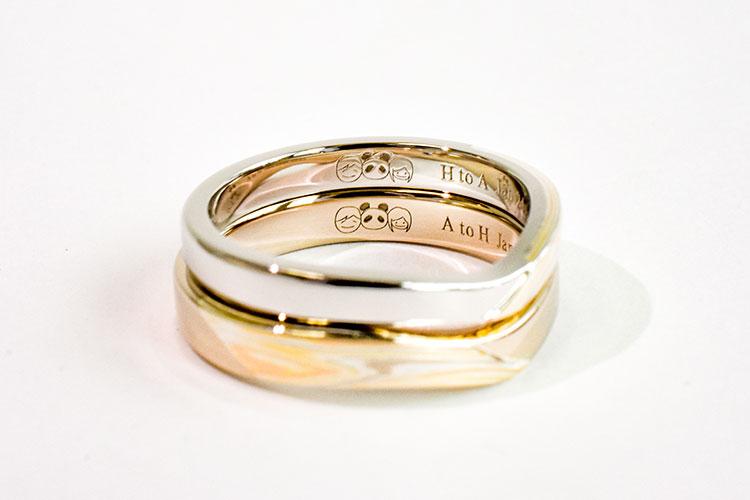 結婚指輪の内側にいれる家紋の刻印
