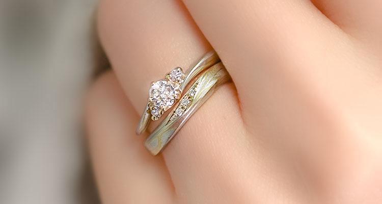 婚約指輪・桜心・結婚指輪・恋風・重ね付け