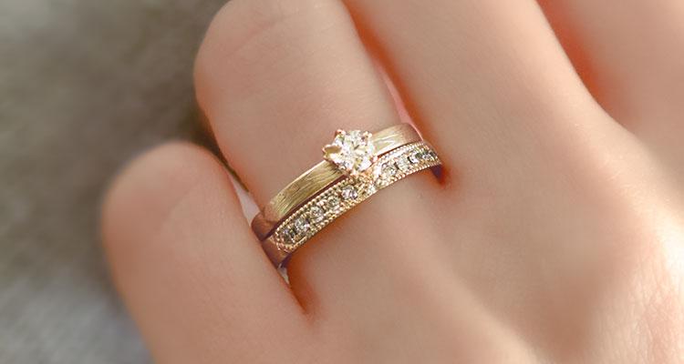 婚約指輪・桜あわせ・結婚指輪・桜あわせ・重ね付け