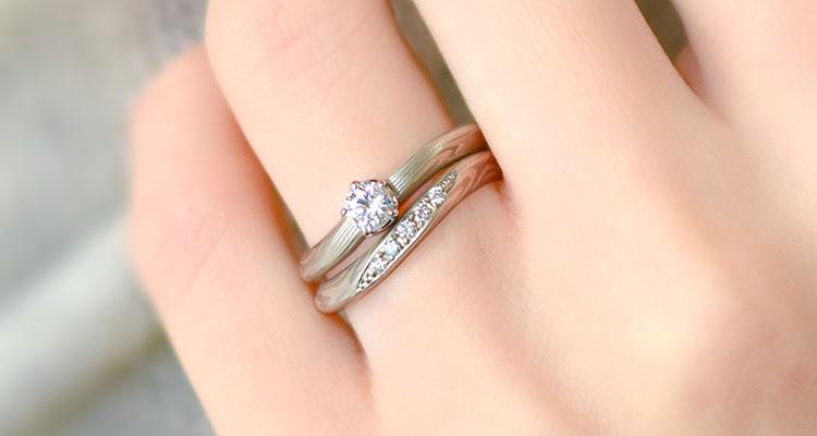 婚約指輪・弓桜・結婚指輪・弓桜・重ね付け
