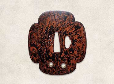 Tsuba with woodgrain pattern