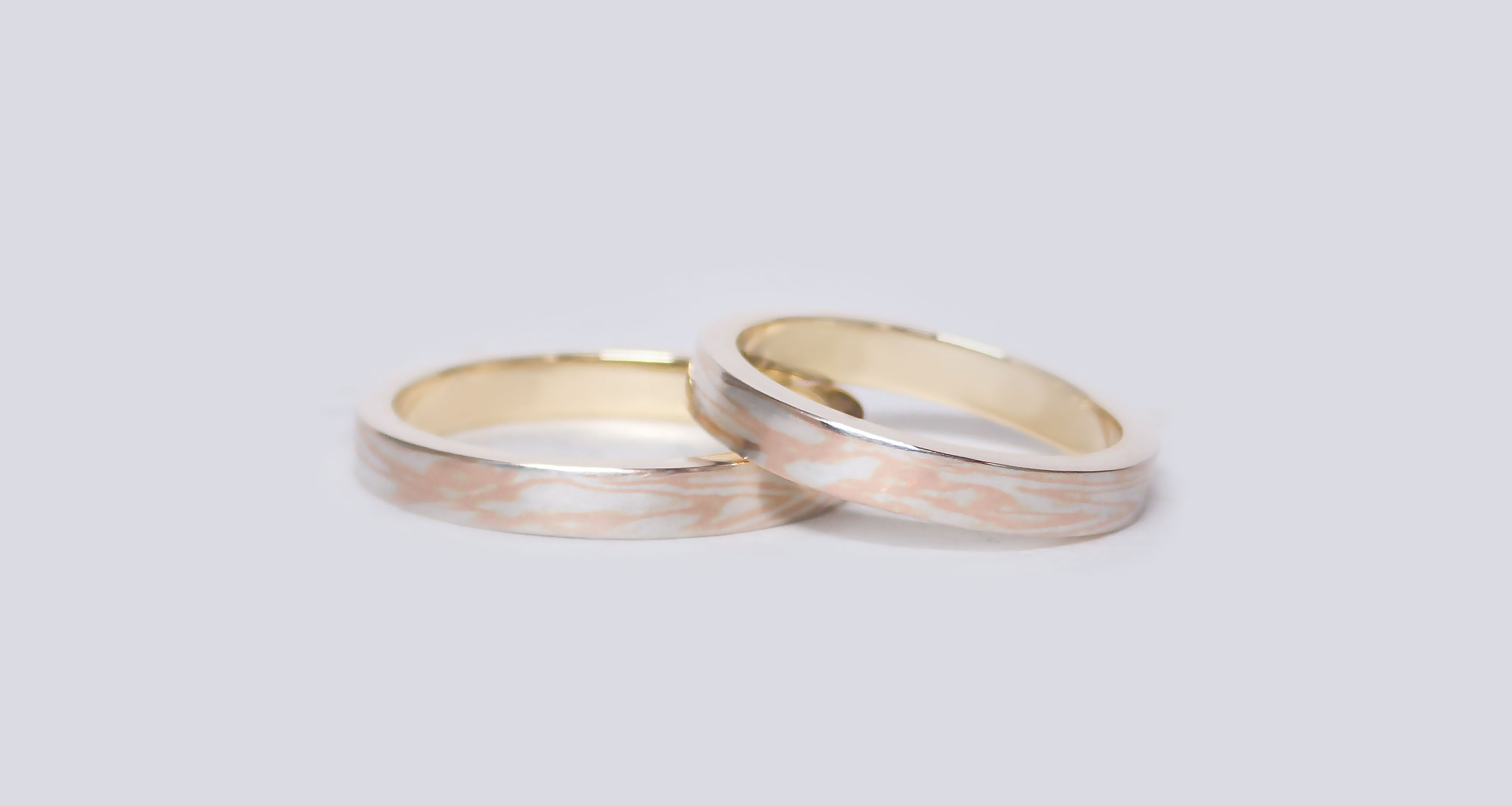 Pink gold (PG) × silver (SV)Wedding bands (Flat straight)