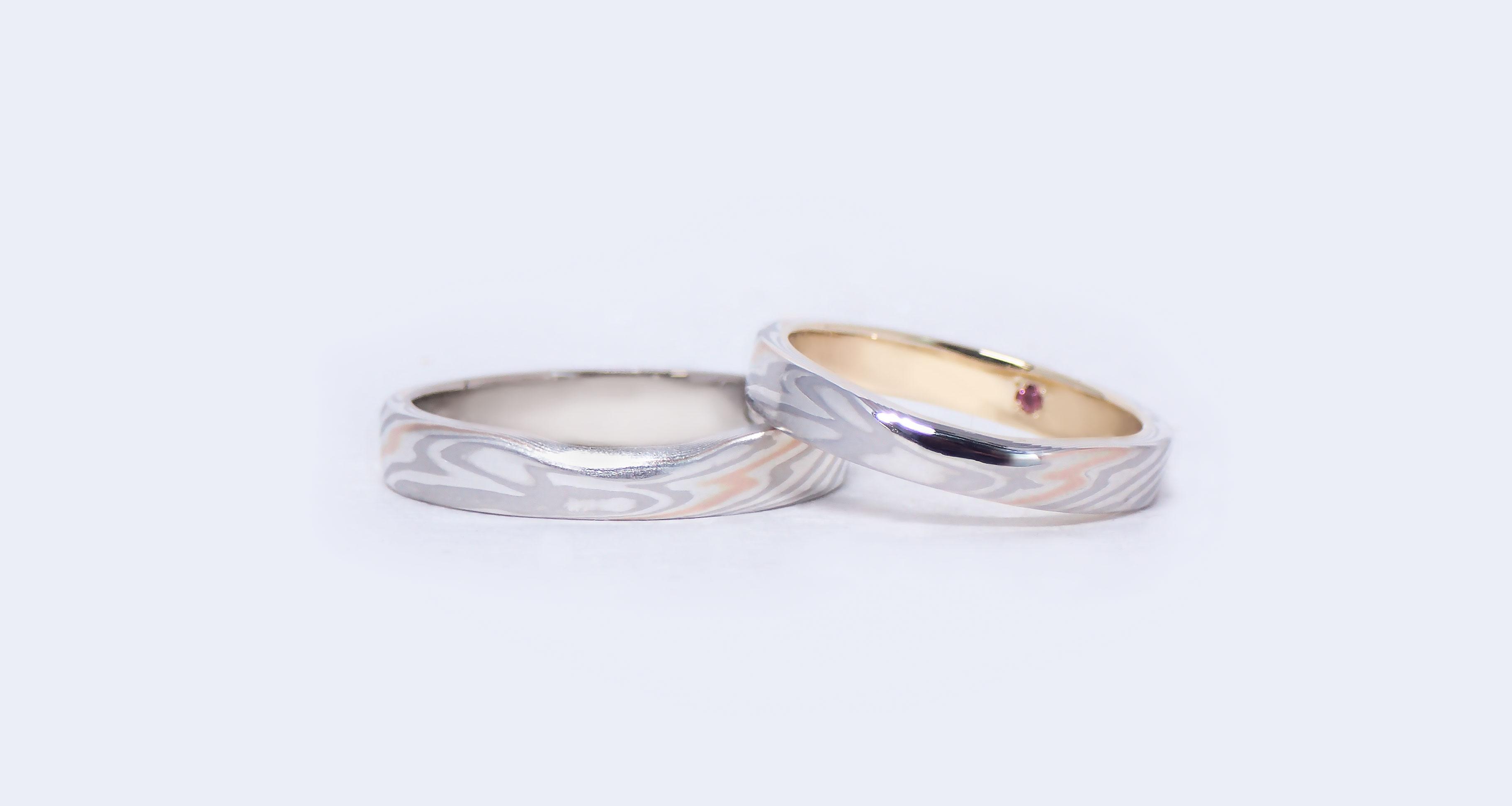 Platinum (Pt)× pink gold one line (PG1) × silver (SV) Wedding bands (Flat straight)