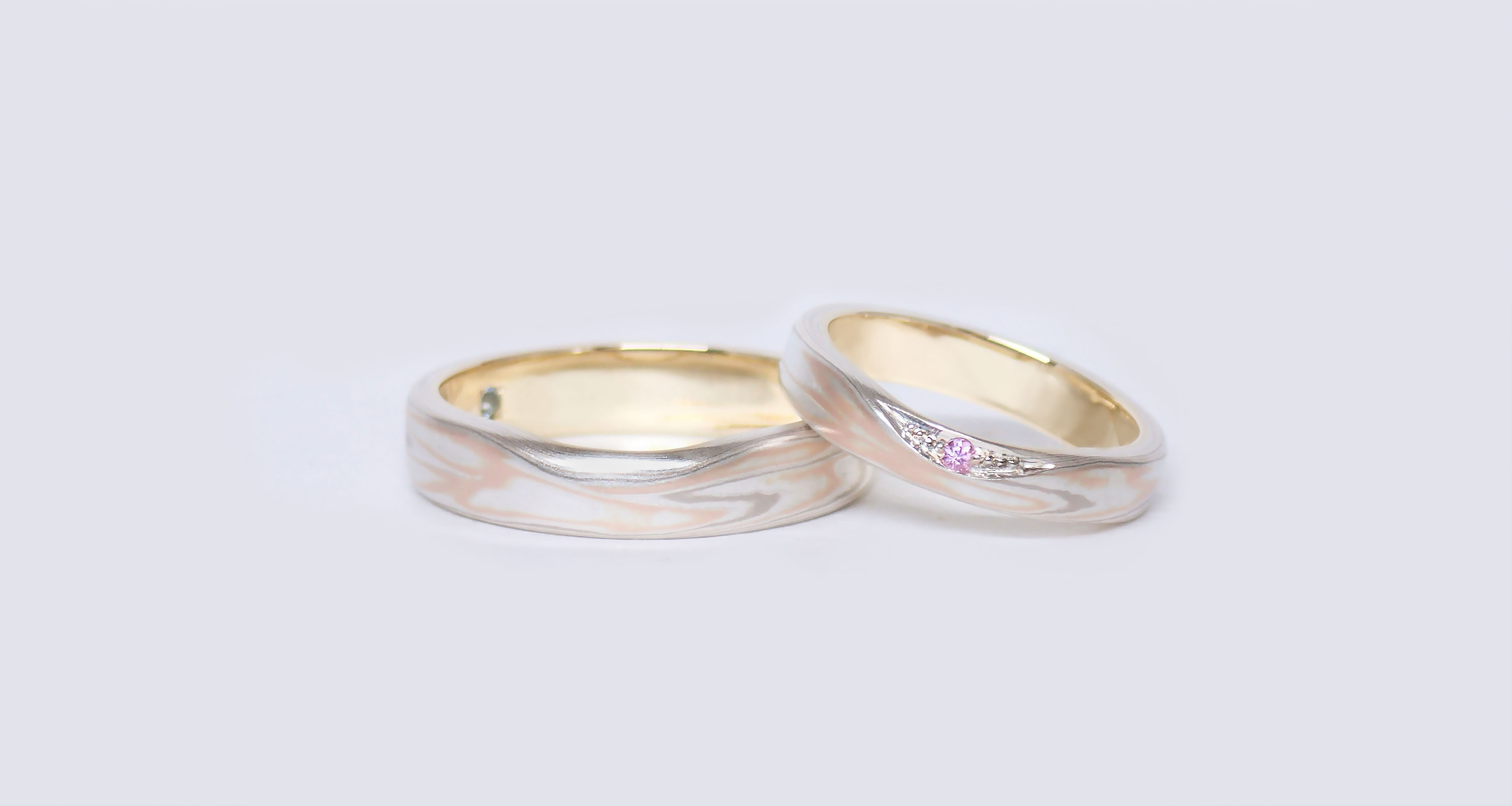 White gold × pink gold displayed evenly (PG) × silver (SV)Wedding bands (Flat straight)