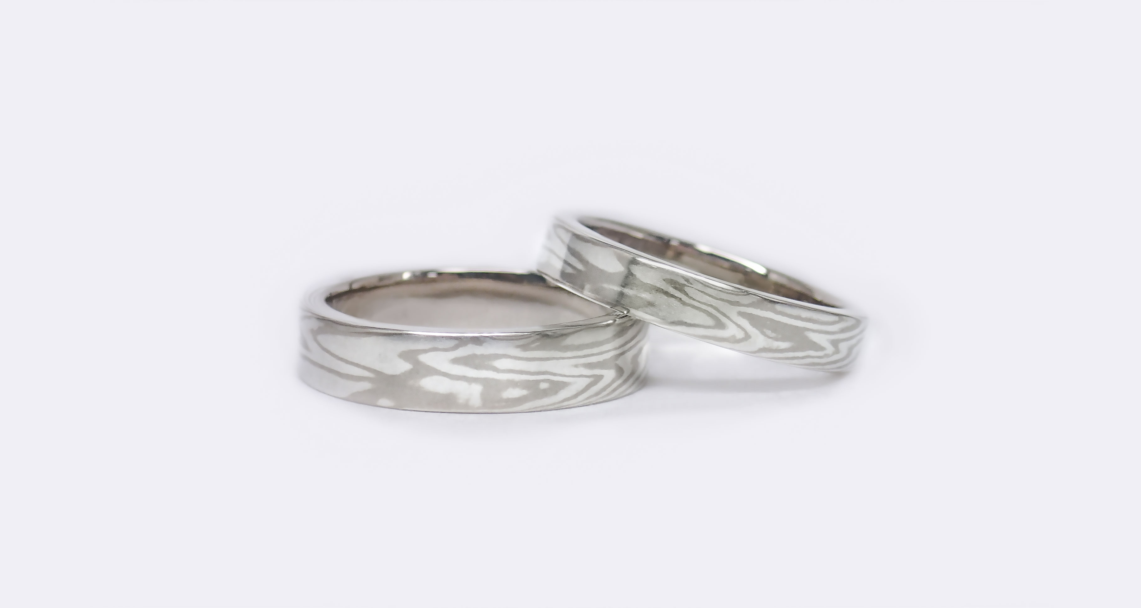 White gold (WG) × silver (SV)ringWedding bands (Flat straight)