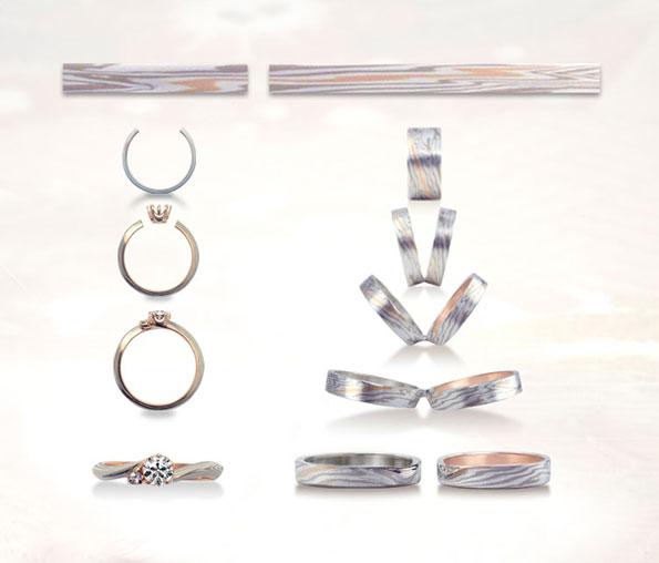 We can make three rings from the same Mokume Ganegane plank
